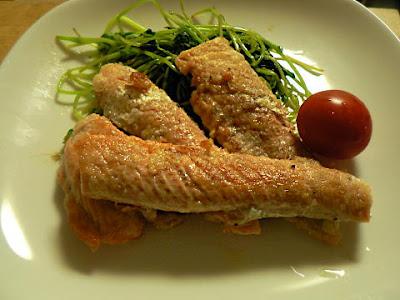 鮭のアラ 腹部分のバター焼き