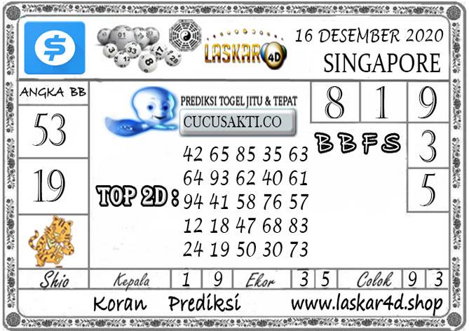 Prediksi Togel SINGAPORE LASKAR4D 16 DESEMBER 2020