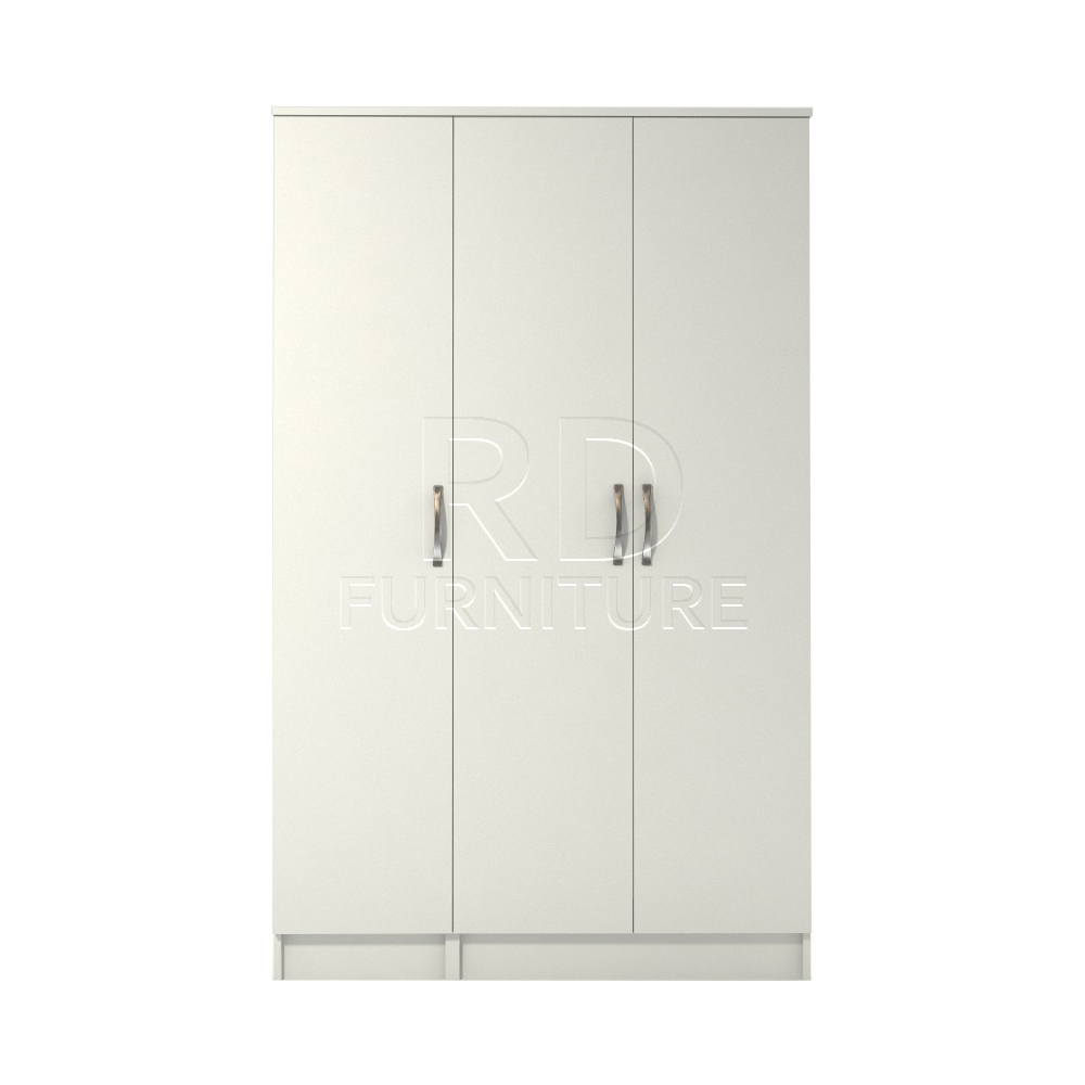 Classic 3 door wardrobe white finish rdfurniture for Wardrobe door finishes