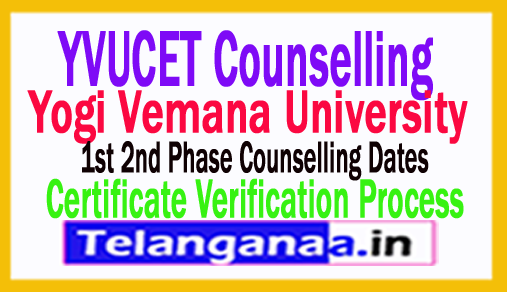 YVUCET 2018 1st 2nd Phase Counselling Dates, Certificate Verification Process  YVUPGCET 2018