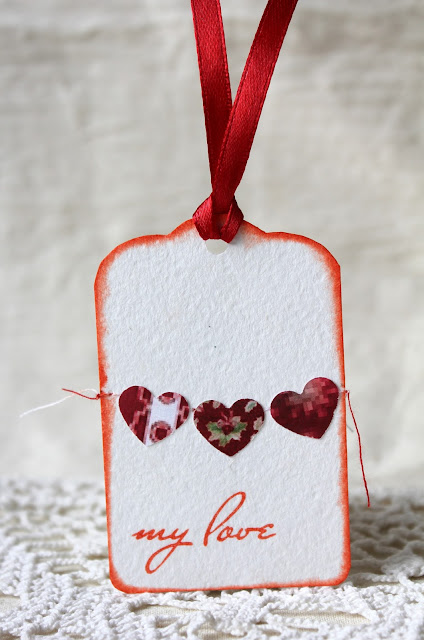 открытка с сердечками, тег