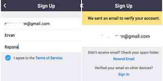 Masukkan email dan nama