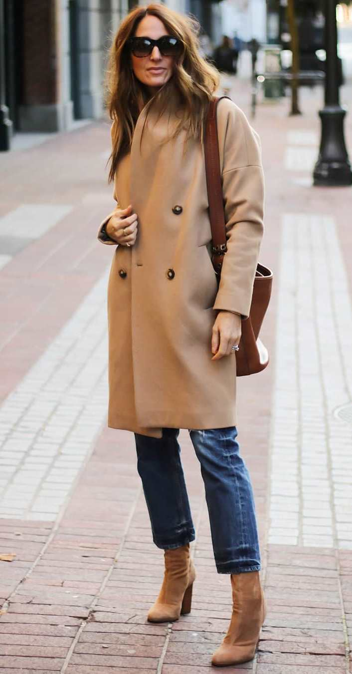 fall outfit idea/ brown bag + boots + beige cashmere coat + jeans