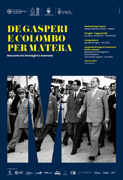 """Oggi inaugurazione mostra """"De Gasperi e Colombo per Matera"""""""