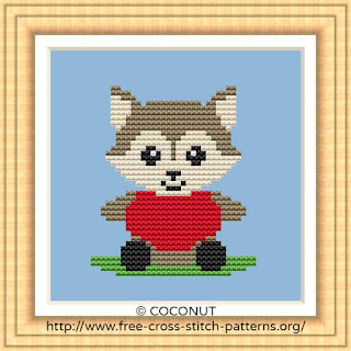 BABY WOLF, BABY ANIMALS FREE AND EASY PRINTABLE CROSS STITCH PATTERN