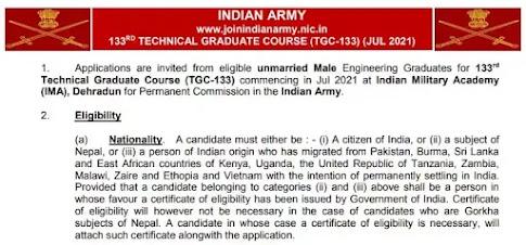 Indian Army Recruitment Technical Graduate Course IMA Dehradun