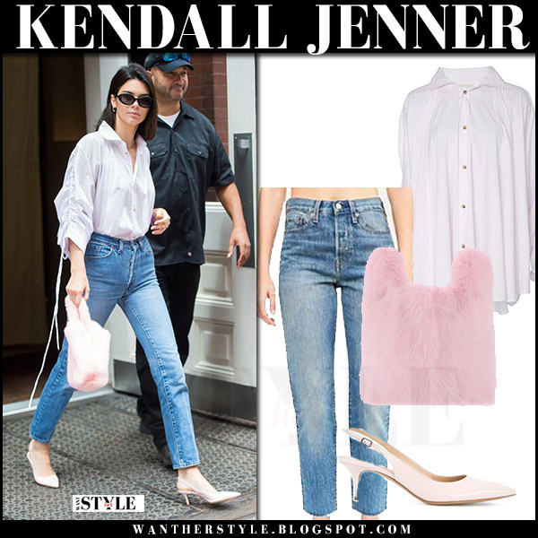 Kendall Jenner in white shirt, jeans, pink pumps with pink mink fur bag simonetta ravizza what she wore july 29 2017