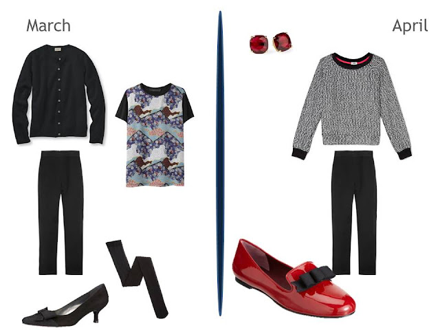 two cool weather outfits including black pants - one including a print tee, one with red accents