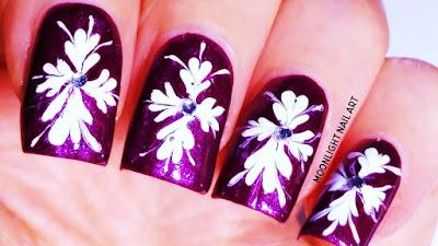 White Drag marble Nail Design on Purple Nails