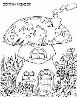 Simple drawing ideas magical countryside scenery beautiful garden mushroom coloring pages for adults