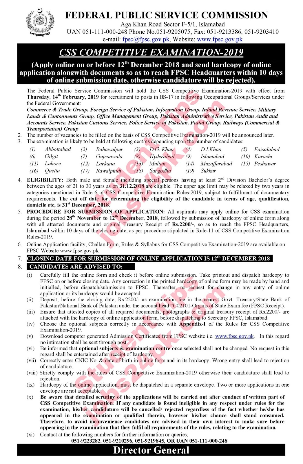 FPSC CSS 2019 Competitive Examination by Federal Public Service Commission Apply Latest Advertisement