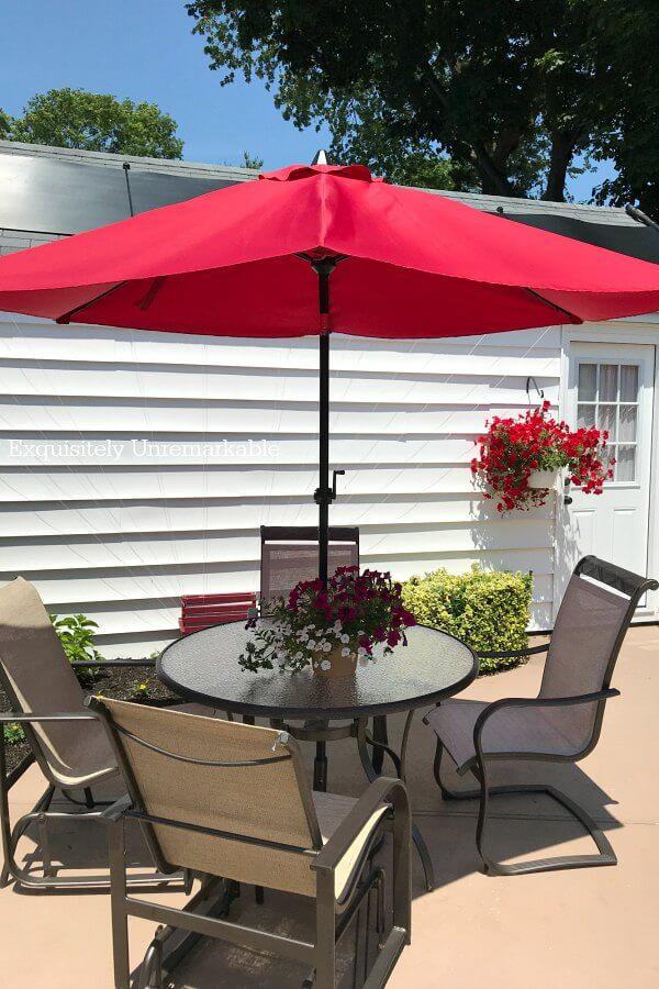 Patio Set With Red Umbrella