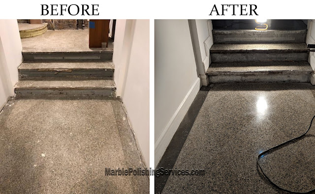 Terrazzo floor restoration before and after