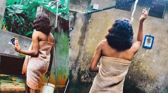 bath-scene of the girl in doorless bathroom