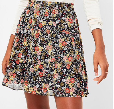 Loft Floral Tiered Ruffle Skirt