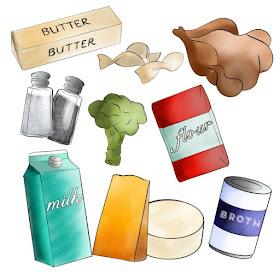 illustration of chicken broccoli casserole ingredients