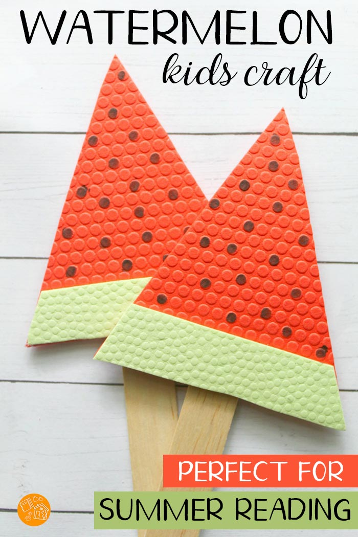 A super easy watermelon craft for kids! These adorable watermelons make great bookmarks or word pointers for summer reading. They are also perfect summer decorations, summer crafts for kids, watermelon table decor, and so much more. Love this simple craft that uses Dollar Store supplies! #summer #kidscrafts #summereading #watermelon #crafts