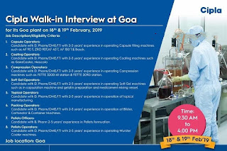 Walk in interview@ Cipla for multiple positions on 18&19 February