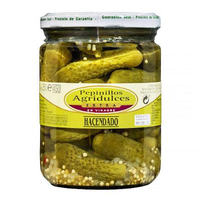 Pepinillos agridulces extra en vinagre Hacendado