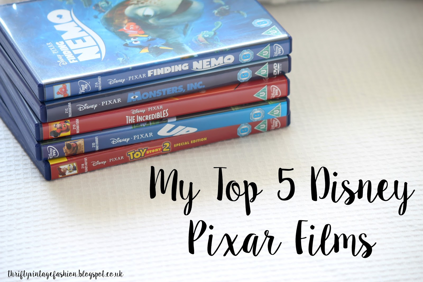 My Top 5 Disney Pixar Films Classics DVDS movies nemo
