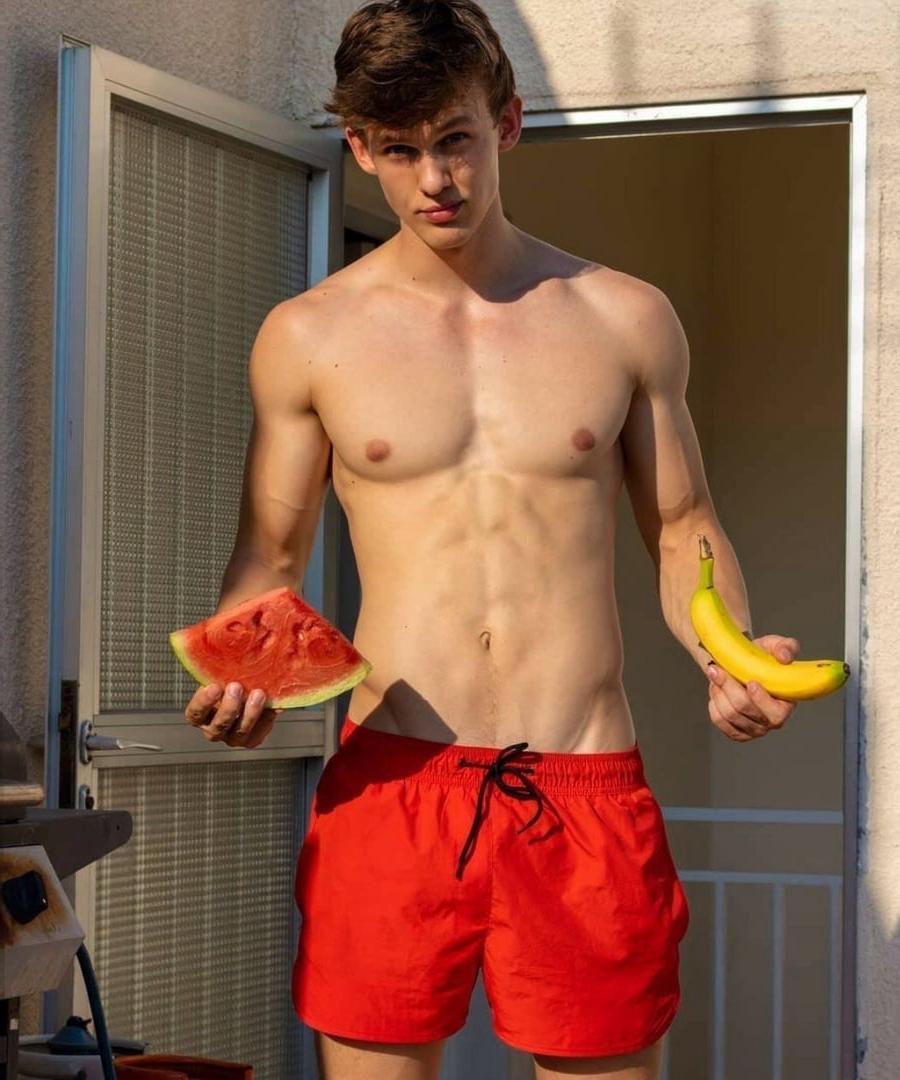 cute-young-shirtless-fit-boy-watermelon-banana-favorite-fruit