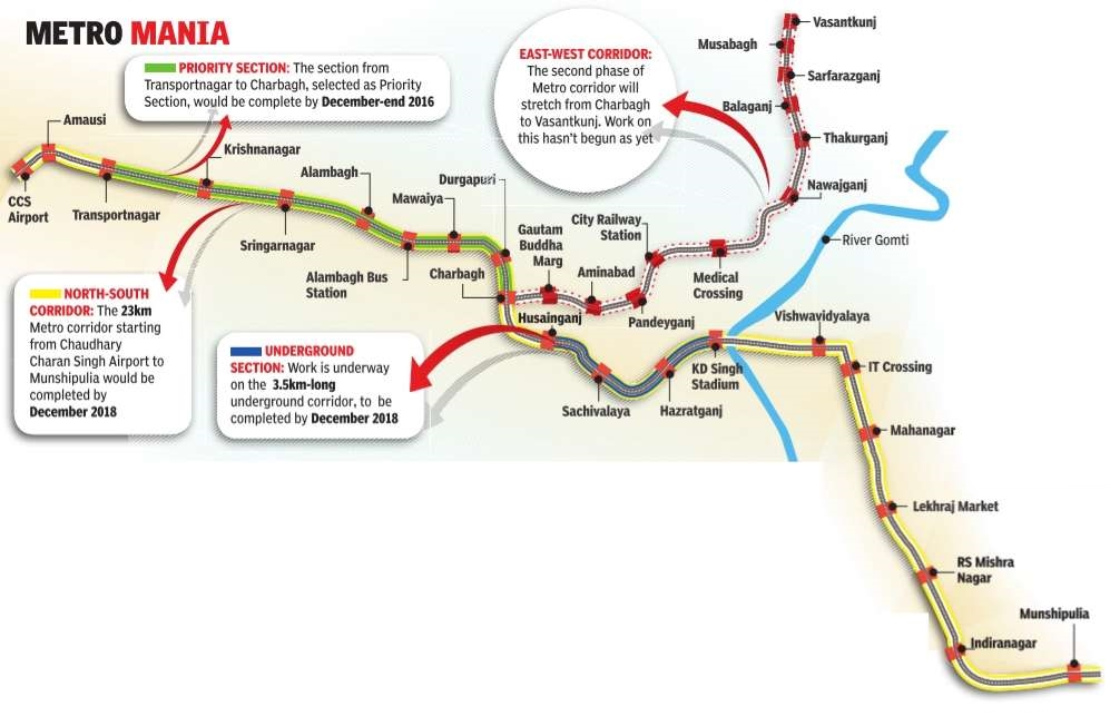 Lucknow Metro Map.Twenty22 India On The Move Lucknow Metro On Track In Just 2 Years