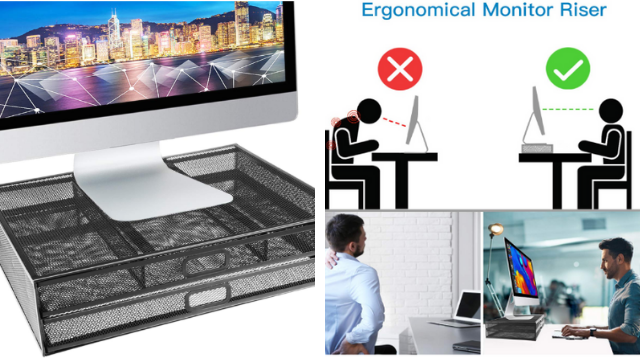 Monitor Stand Riser - Dual Stack Pull Out Storage Drawer Mesh Metal Desk Organizer Compatible with Computer Monitor, Laptop, Printer, Notebook, iMac - Holds up to 33 lbs