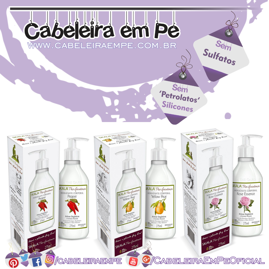 Hidratantes - Skala The Gardener (Yellow Pear, Pepper Force e Rose Essence)