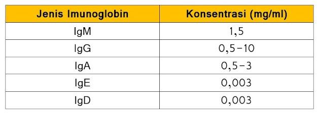 Konsentrasi berbagai jenis imunoglobin dalam tubuh