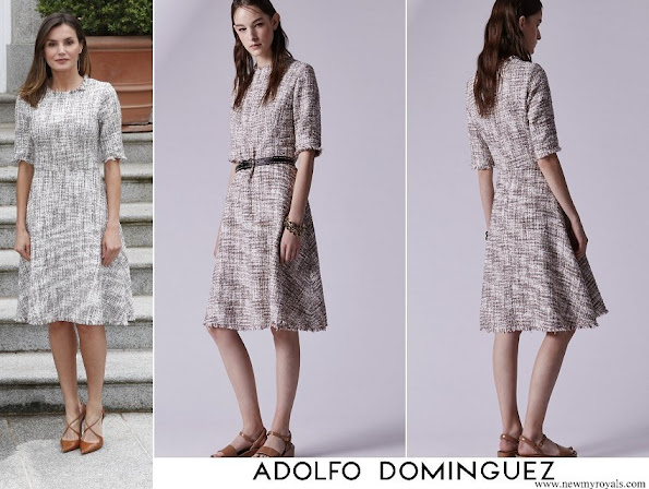 Queen Letizia wore Adolfo Dominguez multicolor tweed dress
