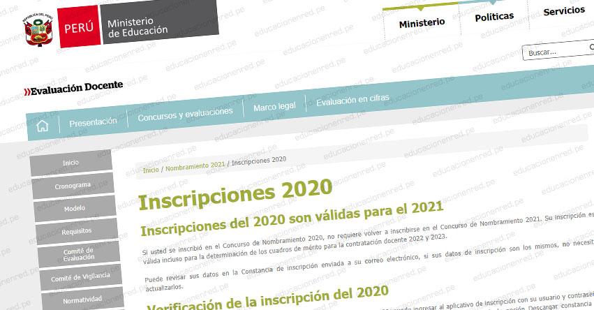 MINEDU recuerda a los docentes inscritos en el Concurso de Nombramiento 2020 que mantienen su inscripción en la actual convocatoria 2021