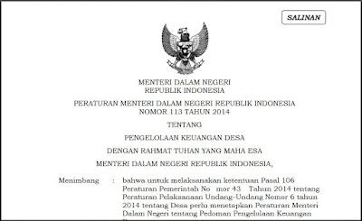 Permendagri 113 tahun 2014 Pengelolaan Keuangan Desa