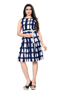 Multicolor Knee length Crepe Dress