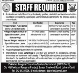 Pakistan Rangers Education System (PRES) Jobs 2021