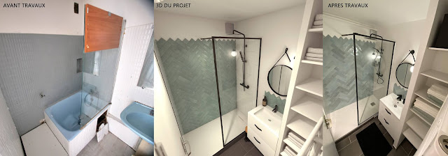 Perspective 3D de rénovation avant-après Salle de bain