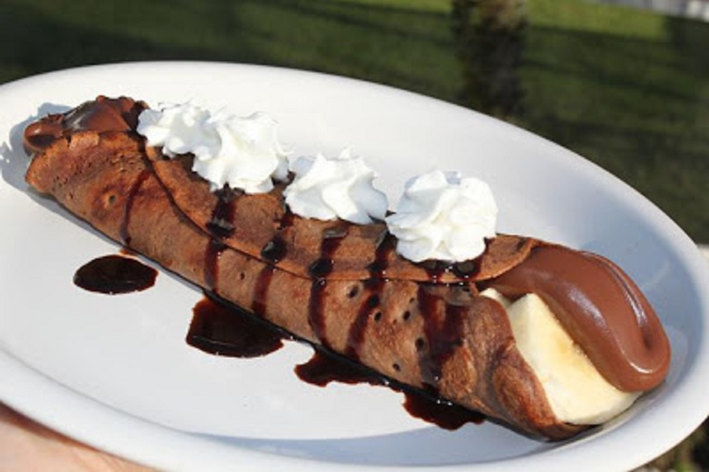 Chocolate Nutella Banana Crepes with Kahlua Fudge Sauce