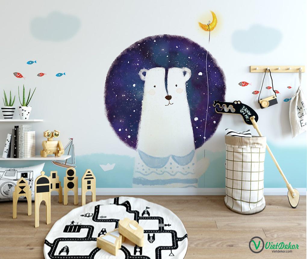 Tranh dán tường 3d đồ trang trí phòng cho bé