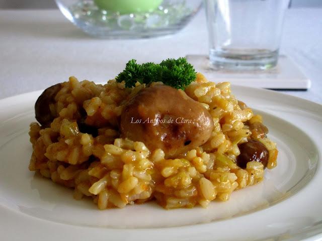 Arroz meloso con setas y verduras