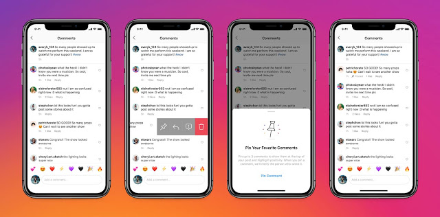 Pinned comments feature on Instagram.