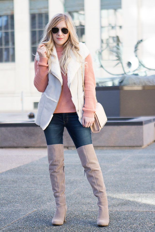 Winter outfit inspiration.  Blush tones, shearling details and over the knee boots.