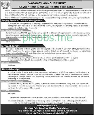 Latest Khyber Pakhtunkhwa Health Foundation Posts 2021