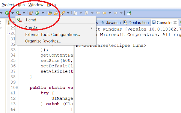 How to run the batch file or external program from Eclipse