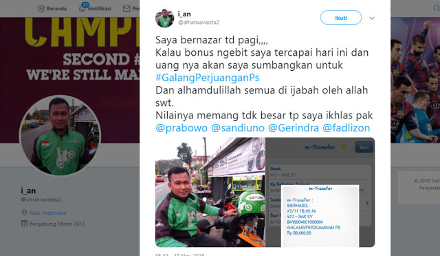 Cerita Mengharukan Driver Ojol Sumbangkan Penghasilan Untuk Kemenangan Prabowo-Sandi