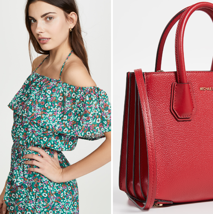 red tote, michael michael kors tote, floral romper, spring trends 2019