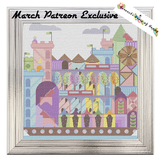 floating fairy tale city cross stitch pattern, full coverage cross stitch pattern to download