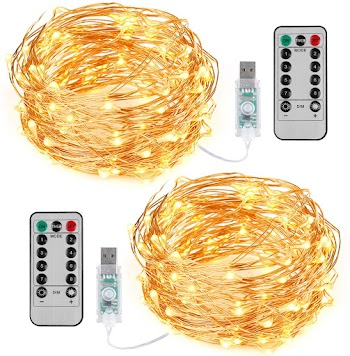 50% OFF 2 Pack 10M Cool white,Warm White ,Green USB/ battery string lights and 5M  Orange,Green, Pink Battery String Lights