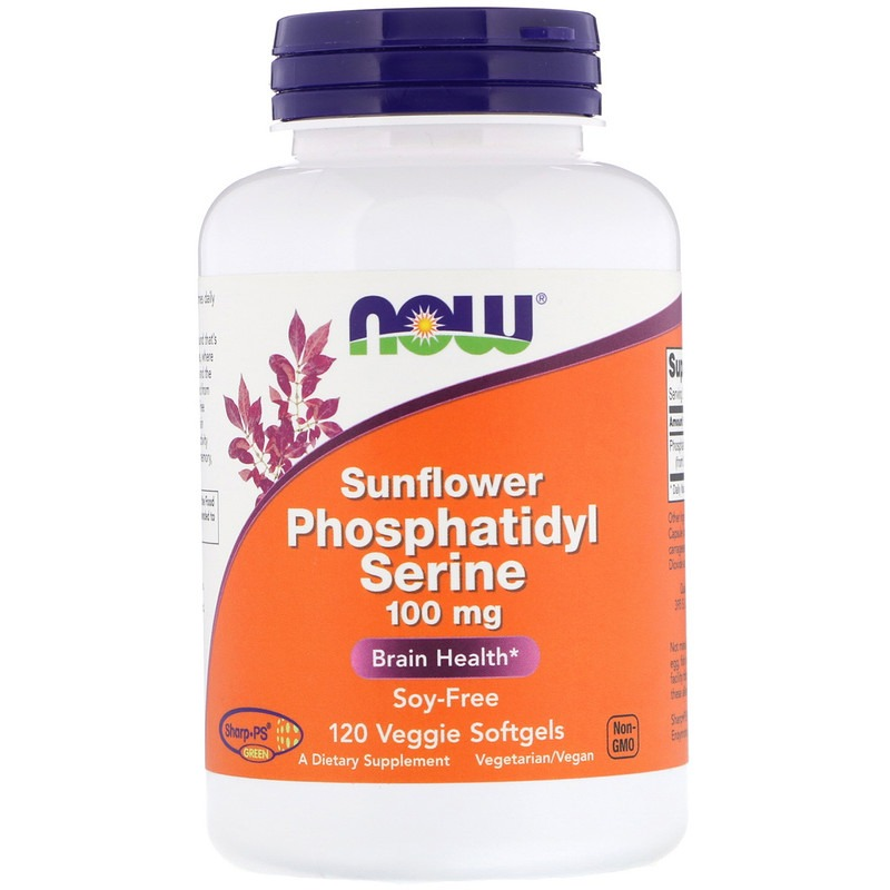 Now Foods, Фосфатидилсерин из лецитина подсолнечника, 100 мг, 120 мягких желатиновых вегетарианских капсул