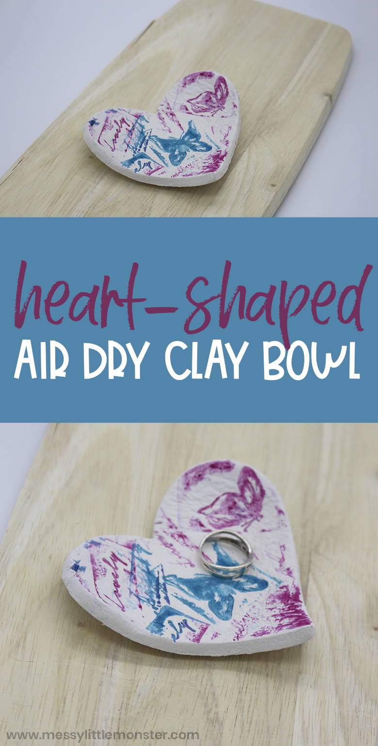 Air dry clay bowl heart craft. Easy clay dishes for kids to make.