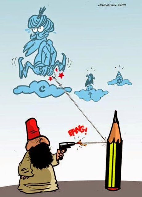 Funny Muslim Shoots Pencil Hits Allah God Cartoon Picture