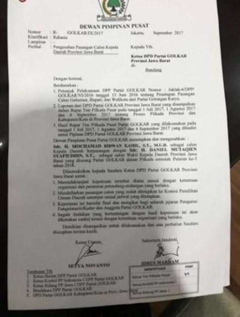 Wasekjen Golkar Beberkan Kejanggalan SK yang Dukung Ridwan Kamil
